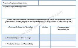 Equipment Appraisal Form