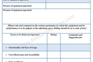 Equipment Appraisal Form