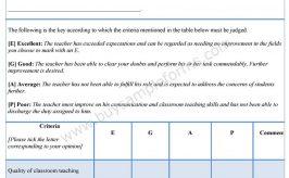 Sample Evaluation Form