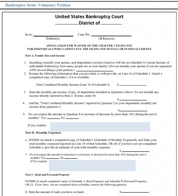 Sample Fillable Bankruptcy Form