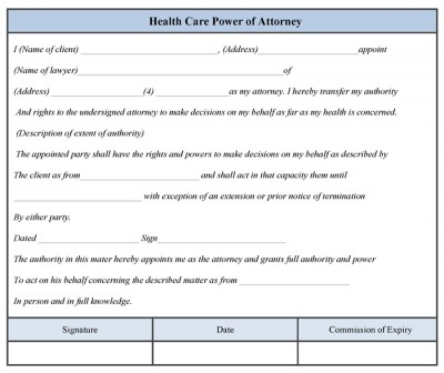 Health Care Power of Attorney Form