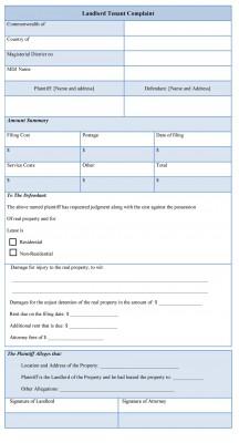 Landlord Tenant Complaint Form