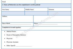 Medical Complaint Form