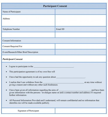Participant Consent Form example