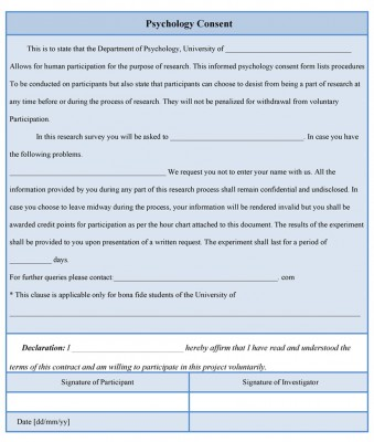 psychology consent form sample