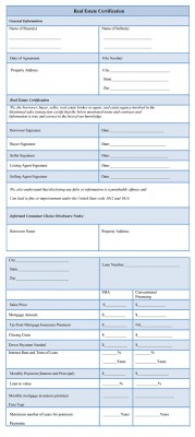 Real Estate Certification Form