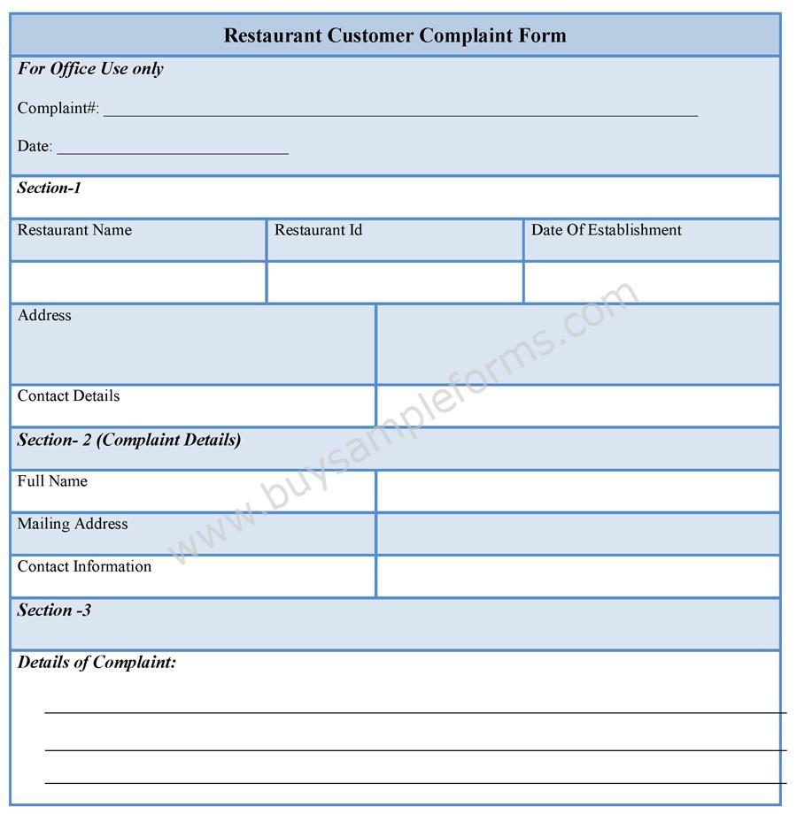 Restaurant Customer Complaint Form template, sample