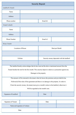 Security Deposit Form