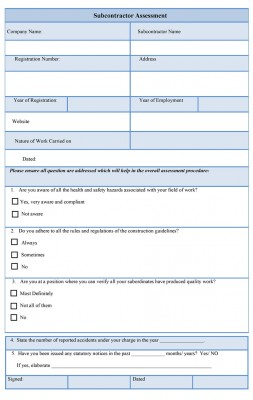 Subcontractor Assessment Form