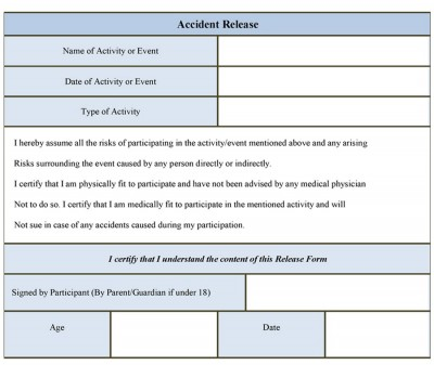 Accident Release Form Template