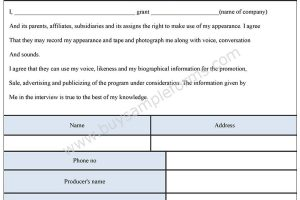 Appearance Release Form