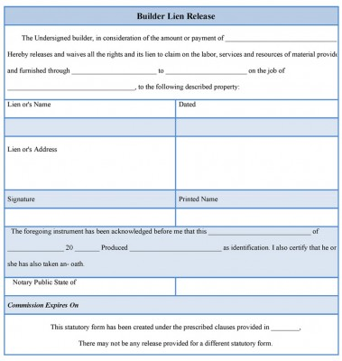 Builder Lien Release Form