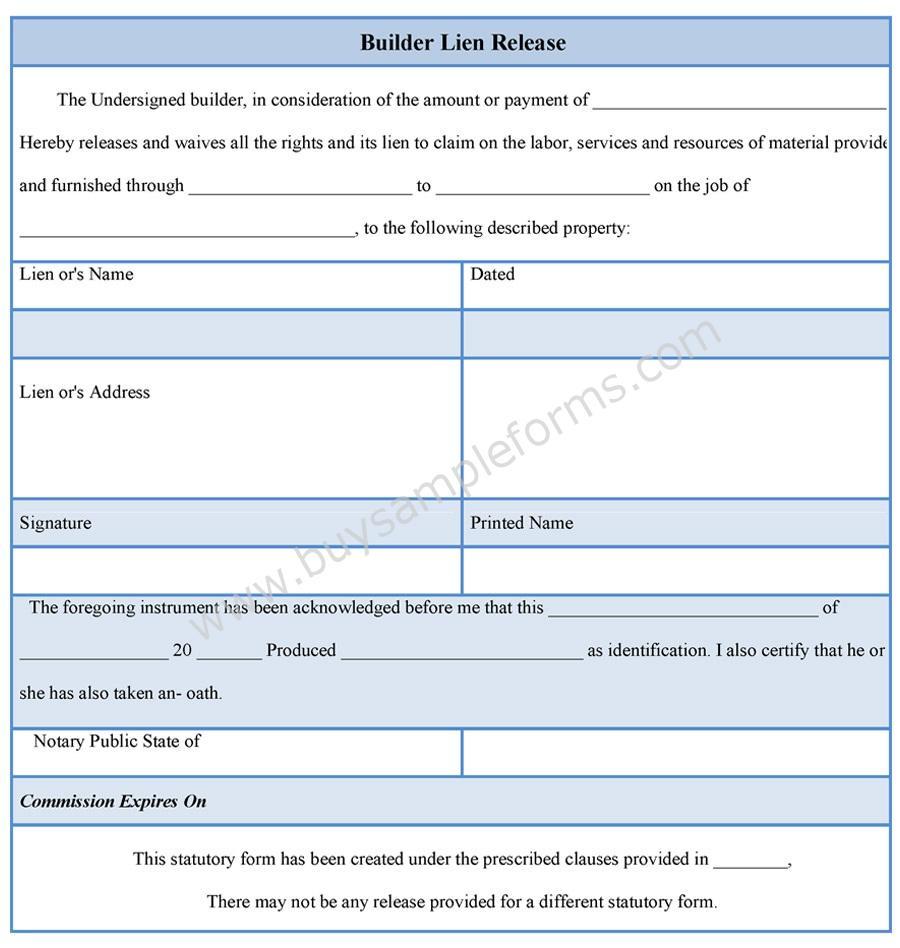 11 Lien Release Sample Forms Word Pdf: Builder Lien Release Form