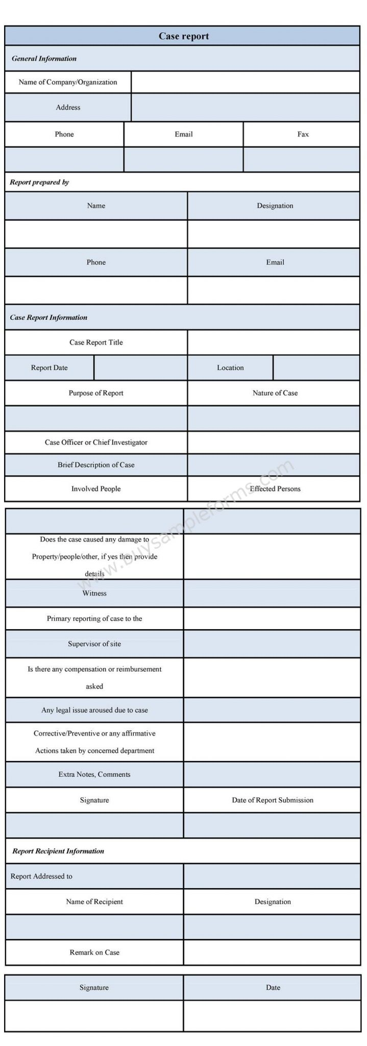 Case Report Form format
