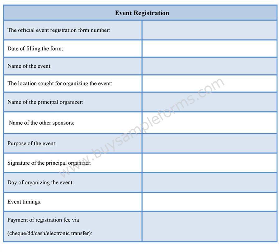 Event Registration Form Sample Forms