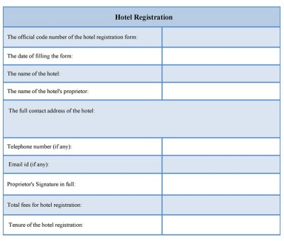 Hotel Registration Form