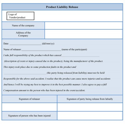 Product Liability Release Form