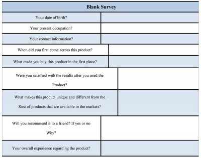 Blank Survey Form sample