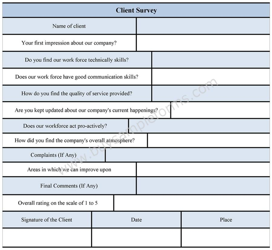 client survey form template
