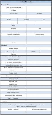 College Reservation Form Sample