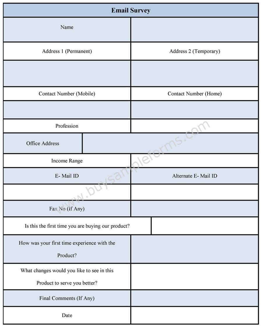 Sample Email Survey Form