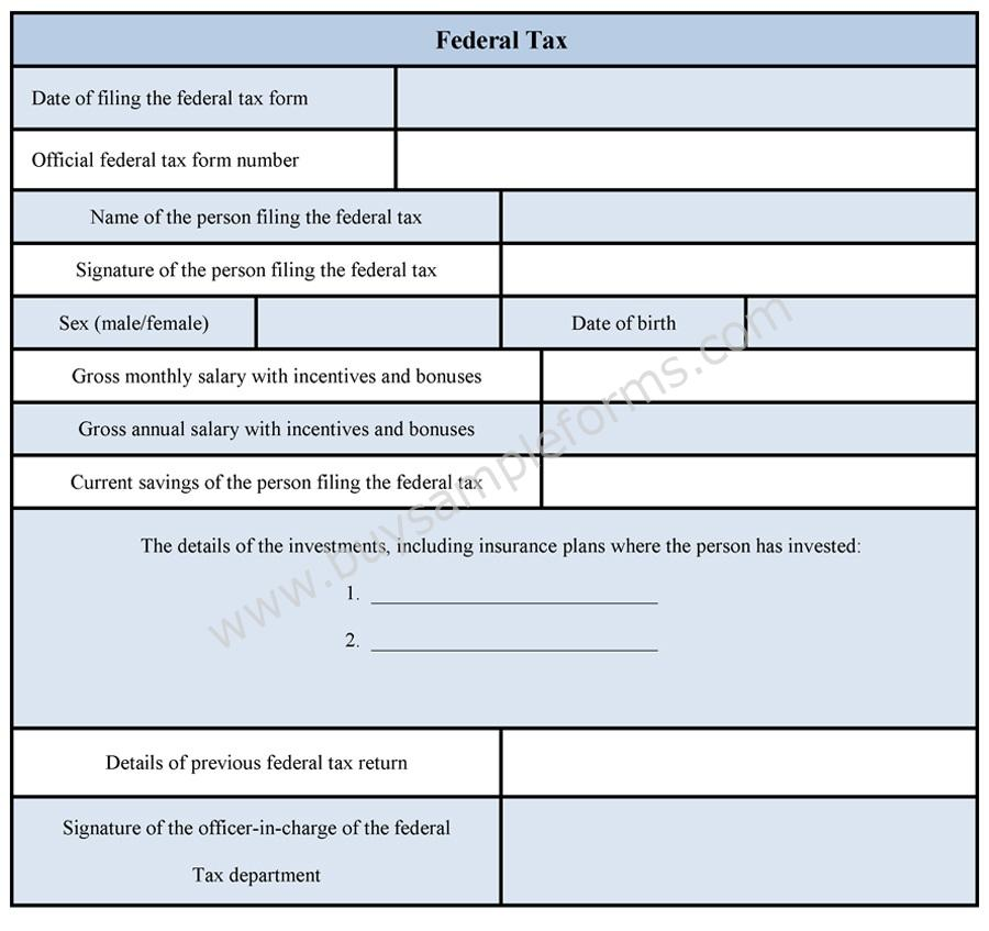 Example Federal Tax Form