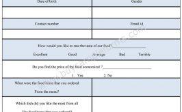 Food Survey Form