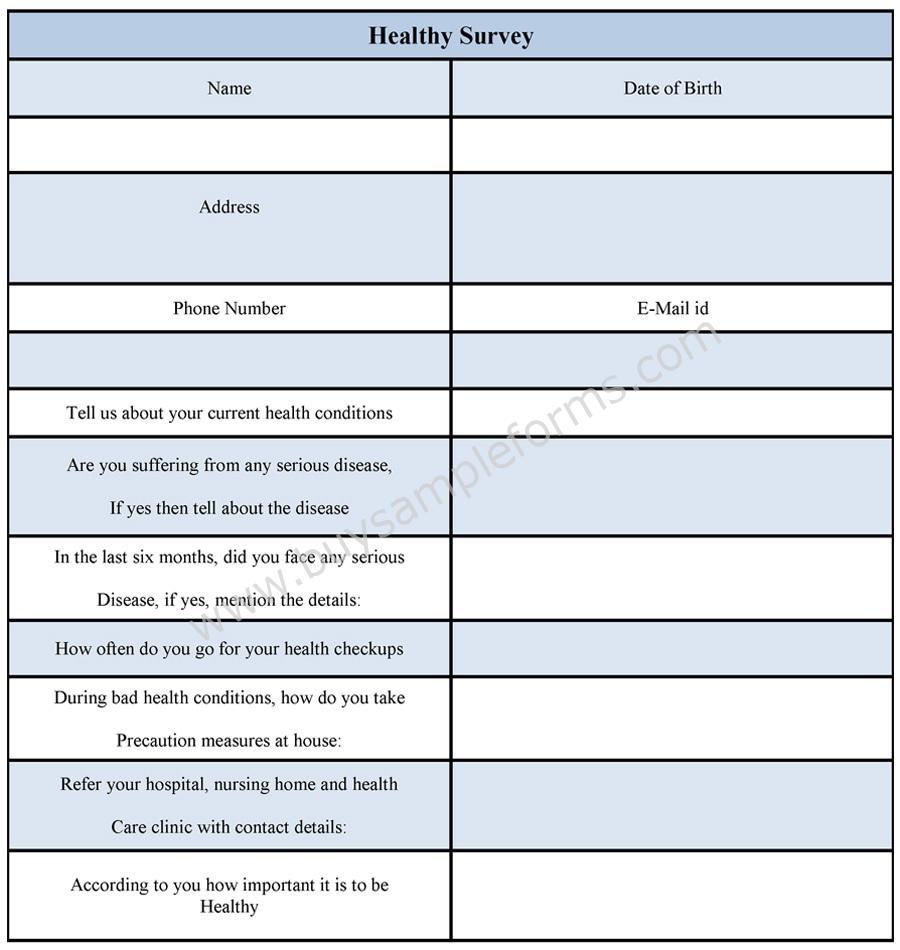 health survey form health ssurvey sample template. Black Bedroom Furniture Sets. Home Design Ideas
