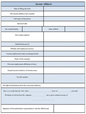 Income Affidavit Form format