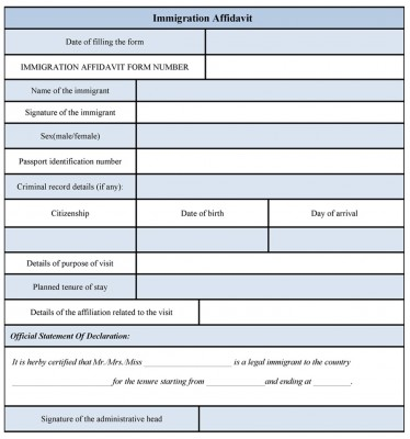 Immigration Affidavit Form