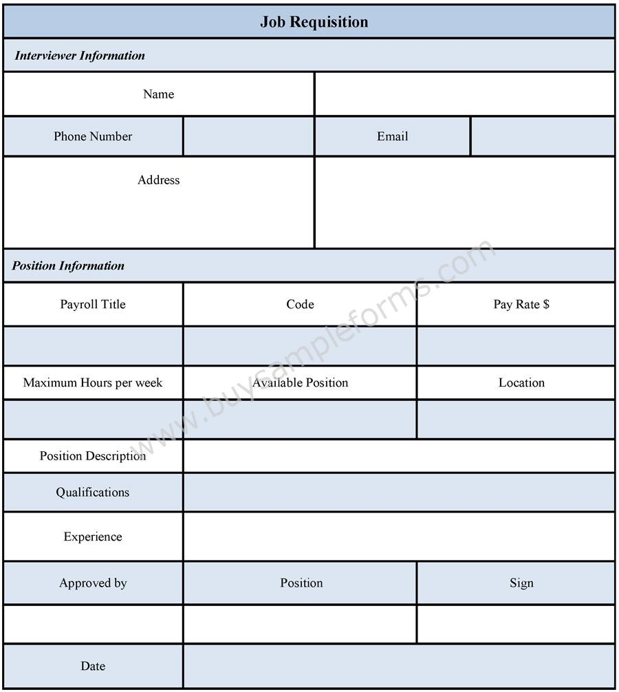 Job Requisition Form Sample Job From And Template