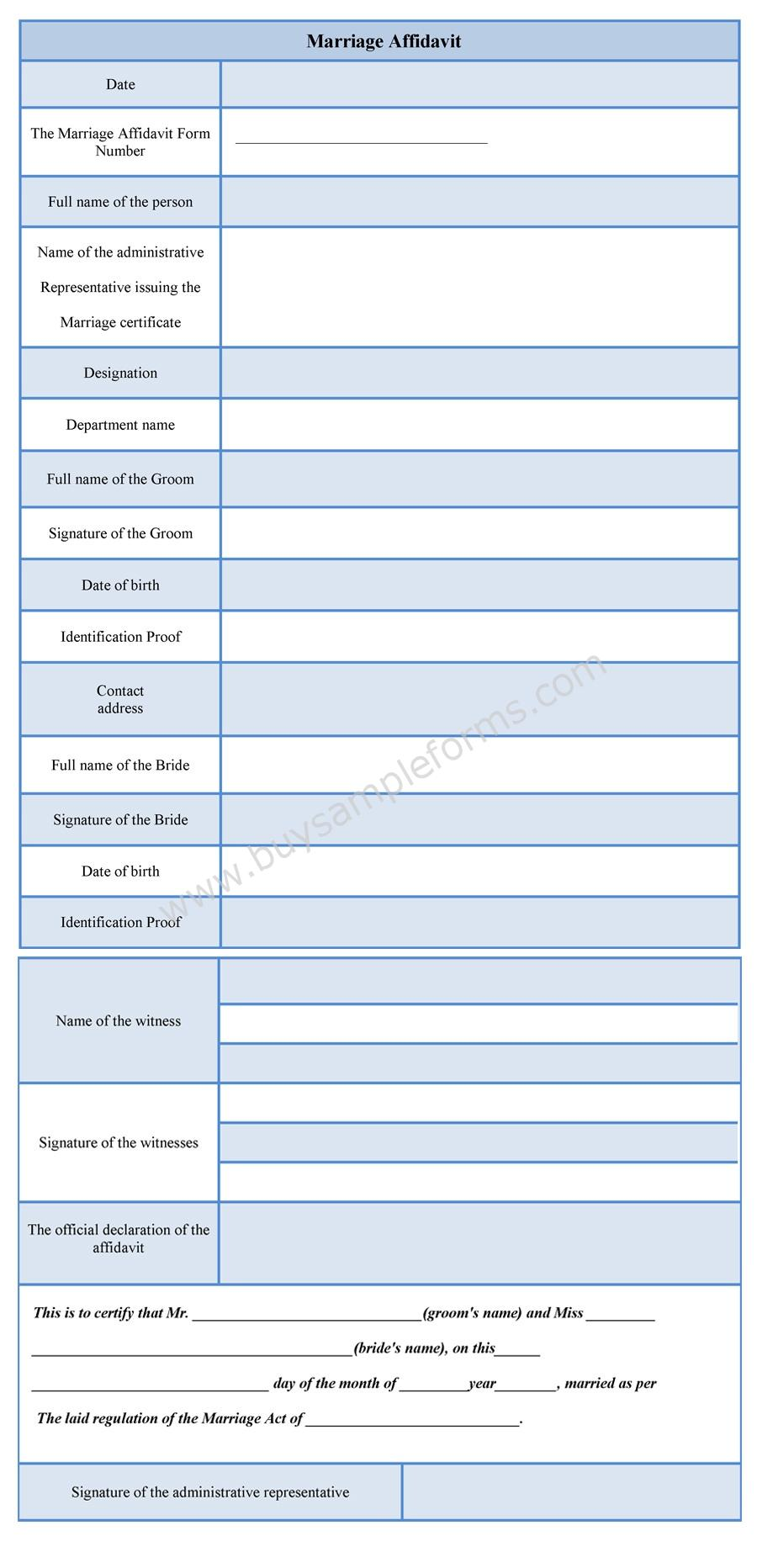 Marriage Affidavit Form - Sample Forms