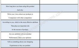 Product Survey Form