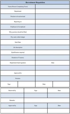 Recruitment Requisition Form Template
