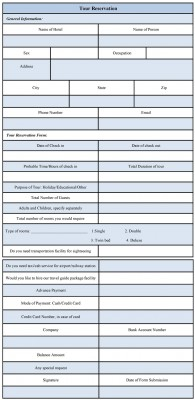 format of tour reservation form