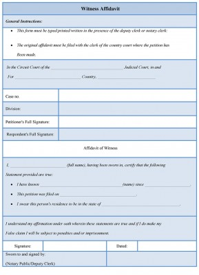 witness affidavit form template