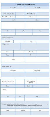 credit check authorization form template
