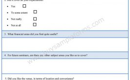 Financial Seminar Evaluation Form