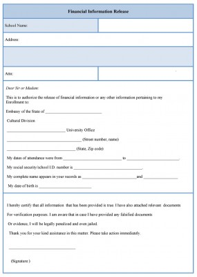 Financial information Release Form
