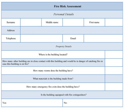Fire Risk Assessment Form example