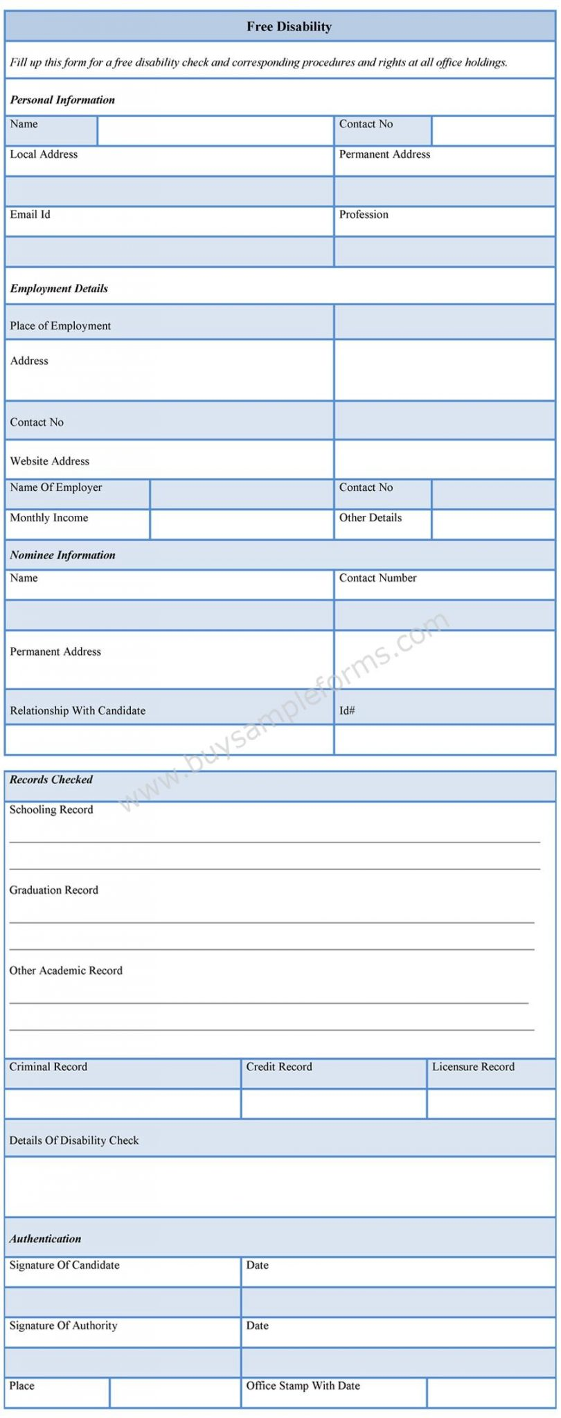 Free Disability Forms