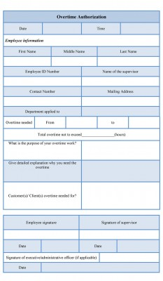 overtime authorization form sample