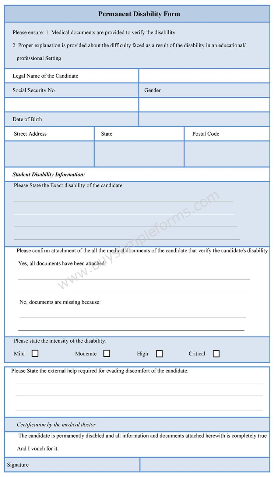 Permanent Disability Form