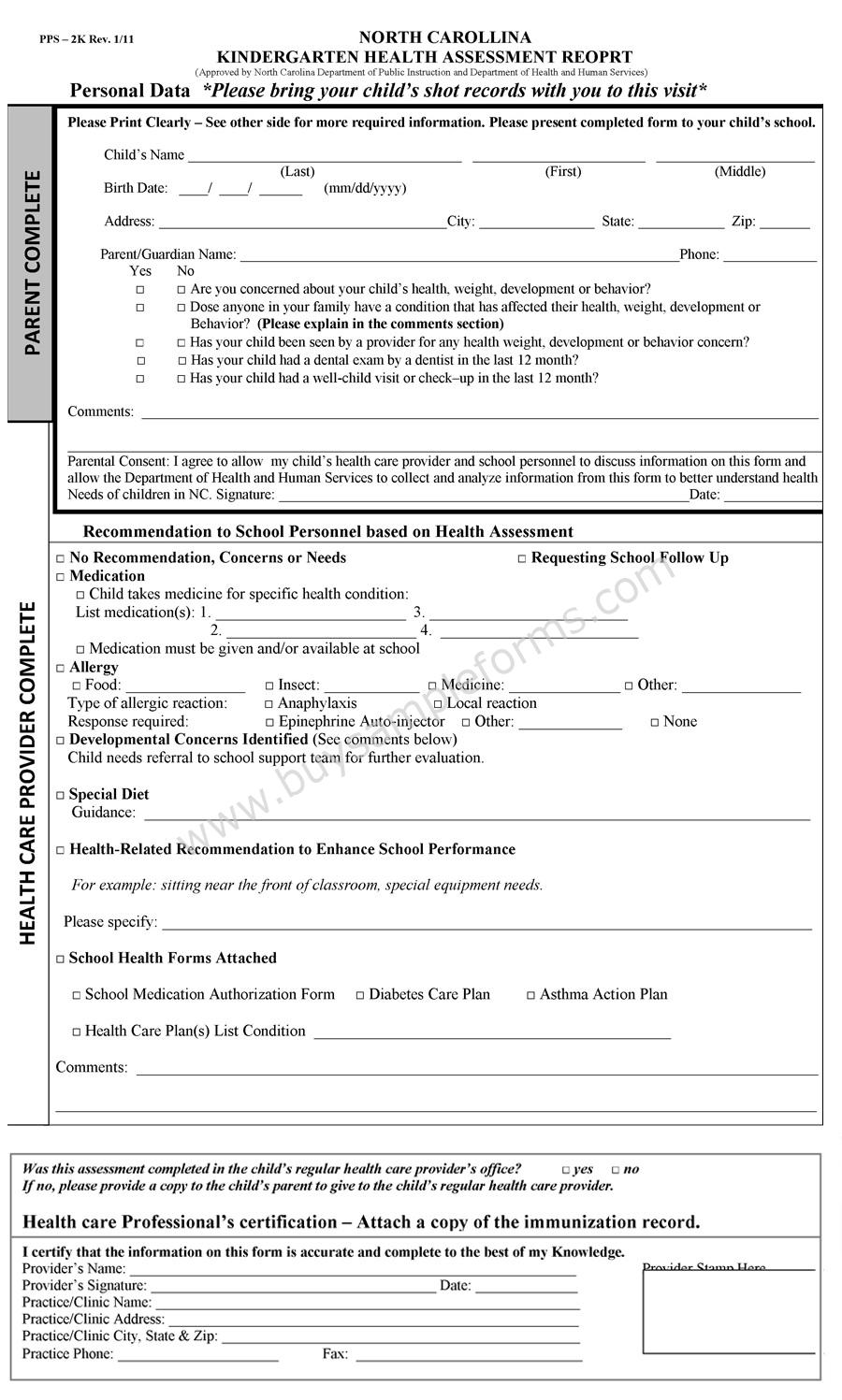 School Assessment Form