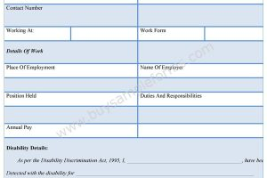 Work Disability Form