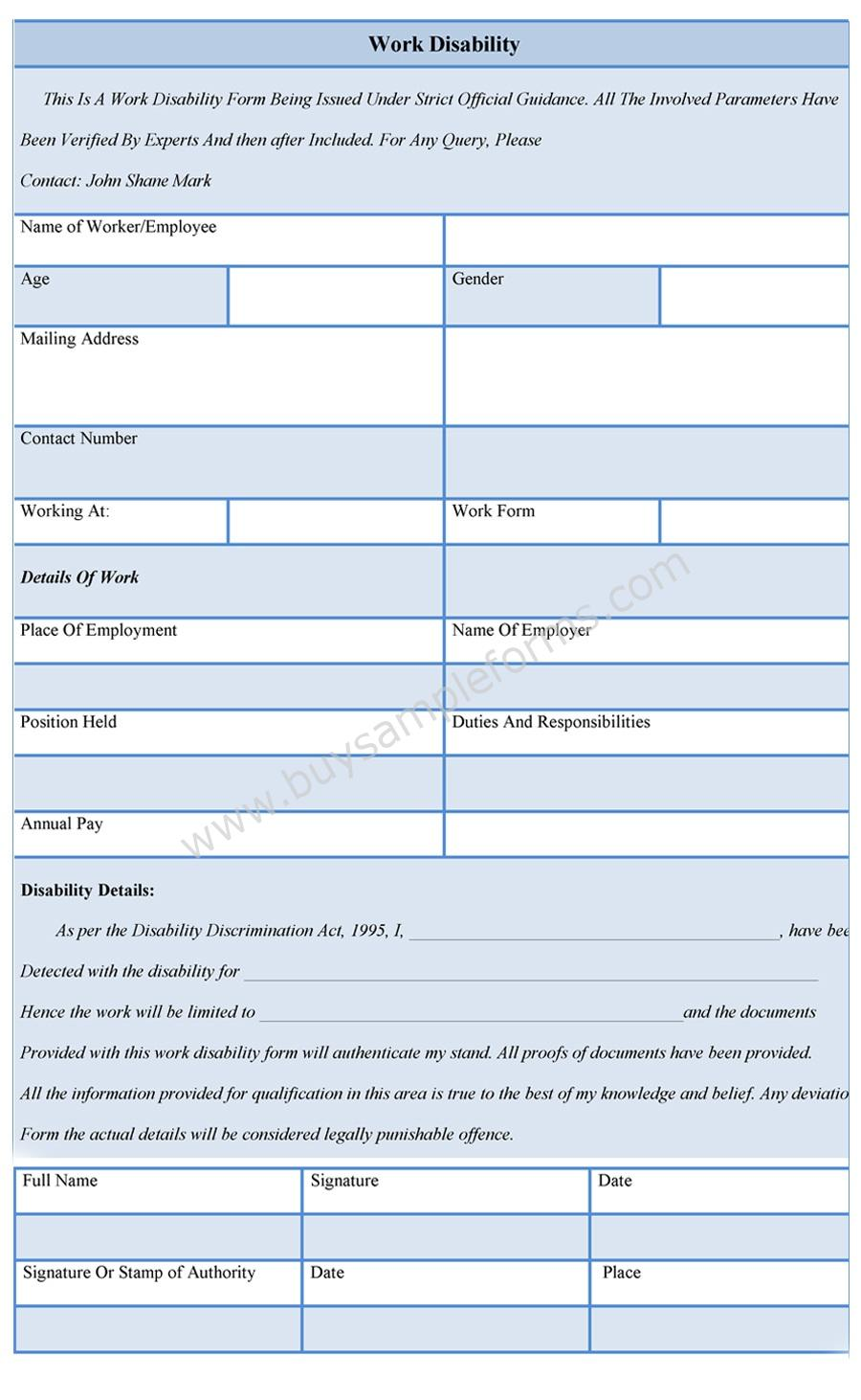 work disability form template