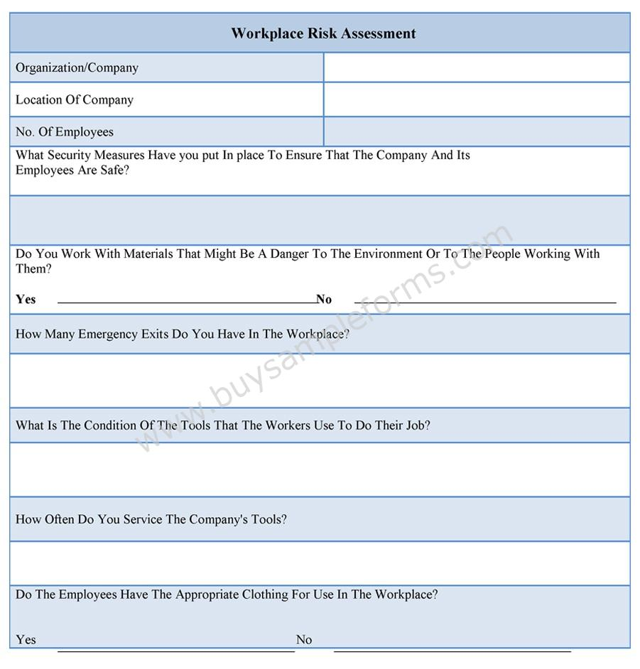 Workplace Risk Assessment Form