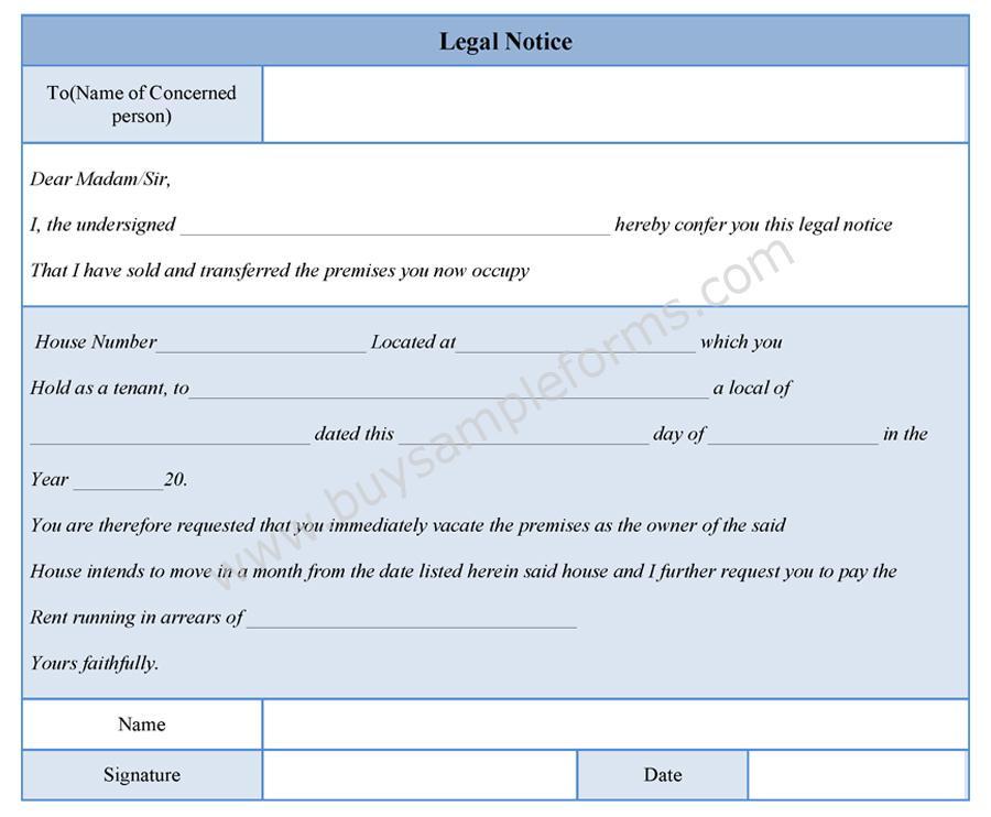 Legal Notice Form