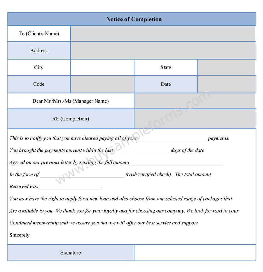 Notice Of Completion Form