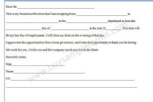 Resignation Notice Form Template